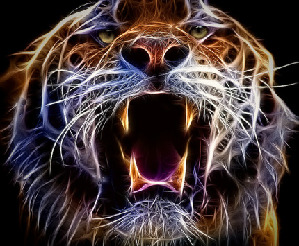 fractal art, abstract art, tiger art